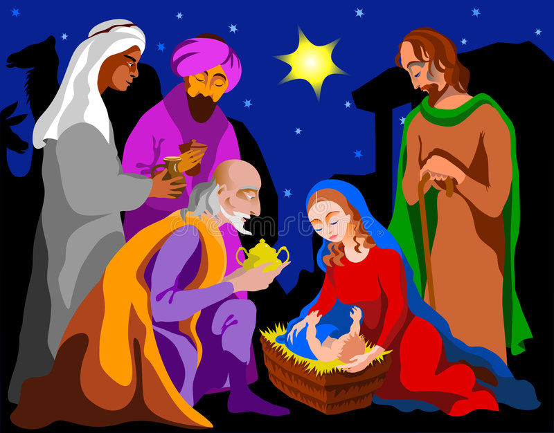 Holy Family. The three Magi came to see the Holy Family