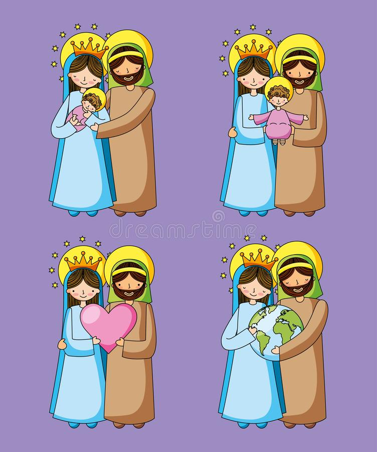 Free Holy Family Christian Cartoons Royalty Free Stock Images - 139946909