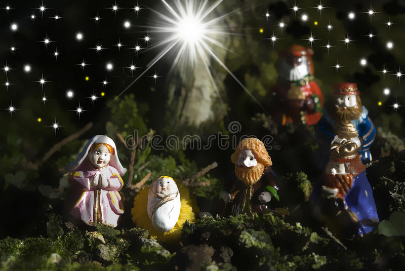 Holy Family Christmas Cards and three wise men stock photo