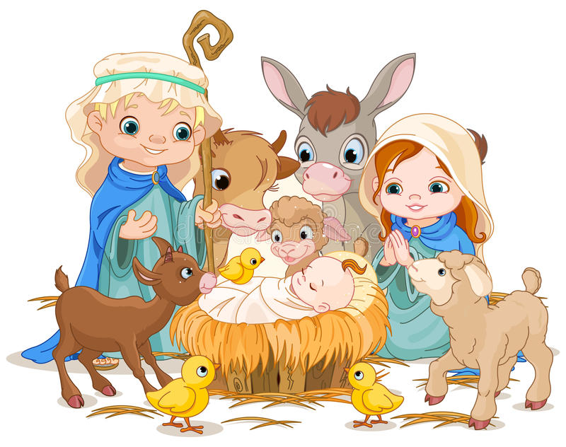 Holy Family at Christmas night vector illustration