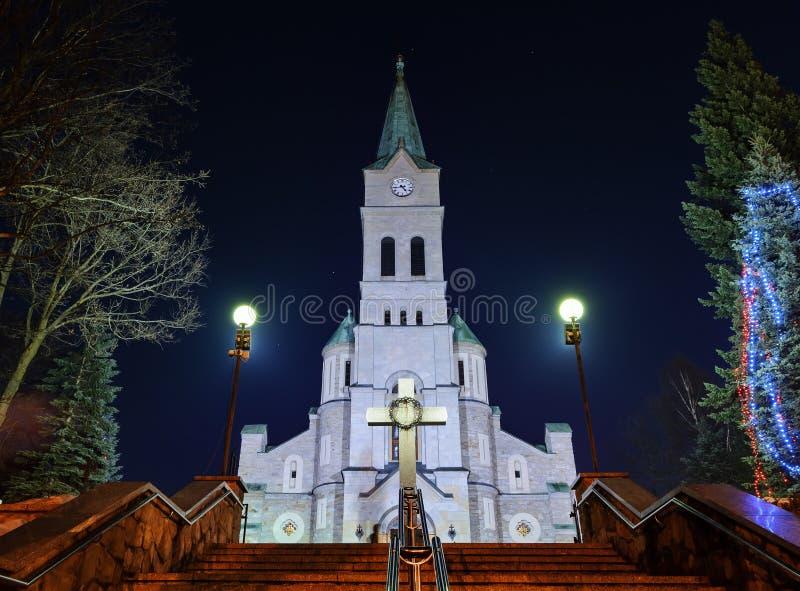 Holy Family church in Zakopane in christmas night stock photography