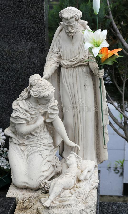 Holy Family. Headstone on Mirogoj cemetery in Zagreb, Croatia stock image