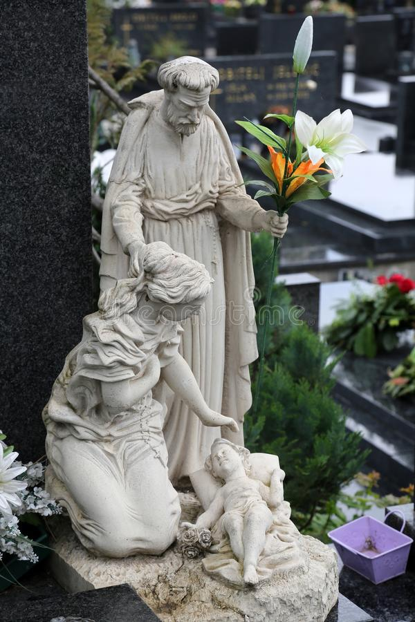 Holy Family. Headstone on Mirogoj cemetery in Zagreb, Croatia stock photo