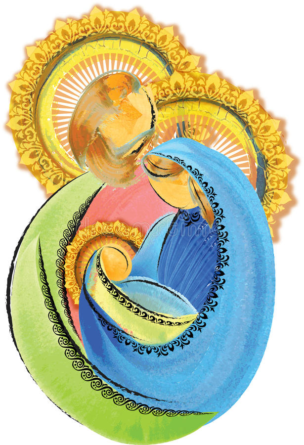 Holy Family Jesus Mary and Joseph artistic abstract nativity Christmas illustration stock images