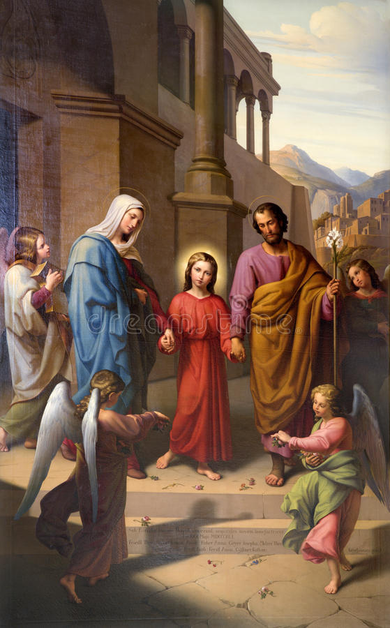 Holy Family from Vienna church stock image