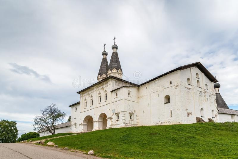 Ferapontov Monastery, Russia. Holy gates with churchs above them in Ferapontov Monastery, Russia royalty free stock photo