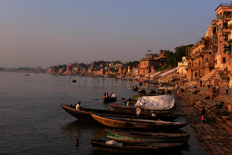 Holy Ghats of Benaras. Benaras, is considered as the cultural capital of the oldest and holiest cities in India and home to the most famous ghats (steps leading stock photography