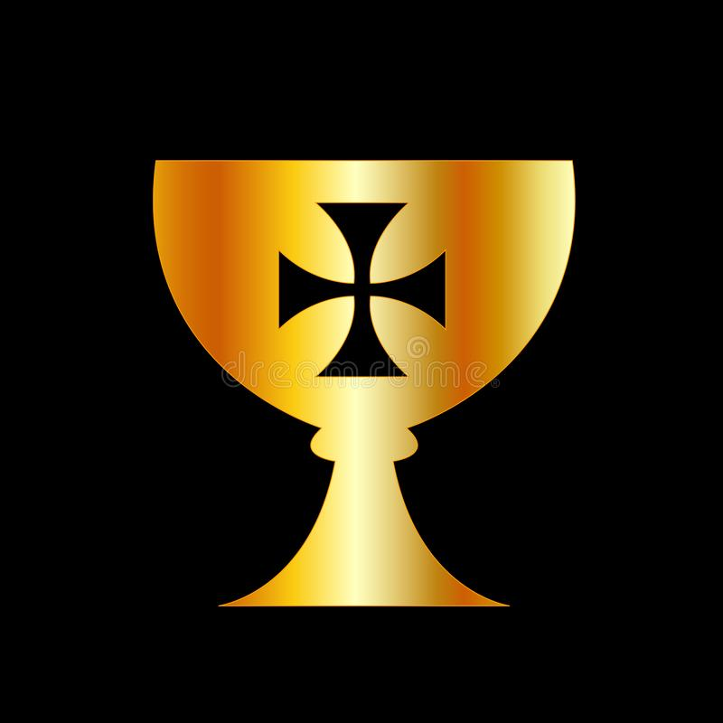 The Holy Grail or cup is a treasure, dish or stone with miraculous powers that provide happiness, eternal youth or sustenance in i. The Holy Grail or cup is a vector illustration