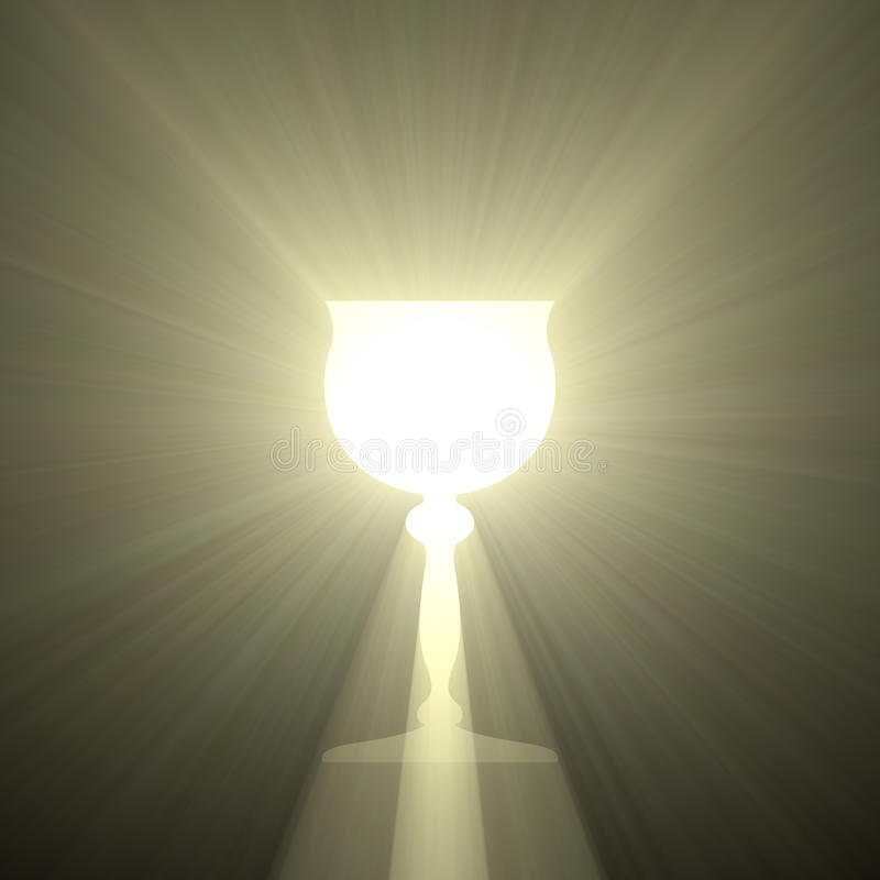 Holy grail goblet of light stock illustration