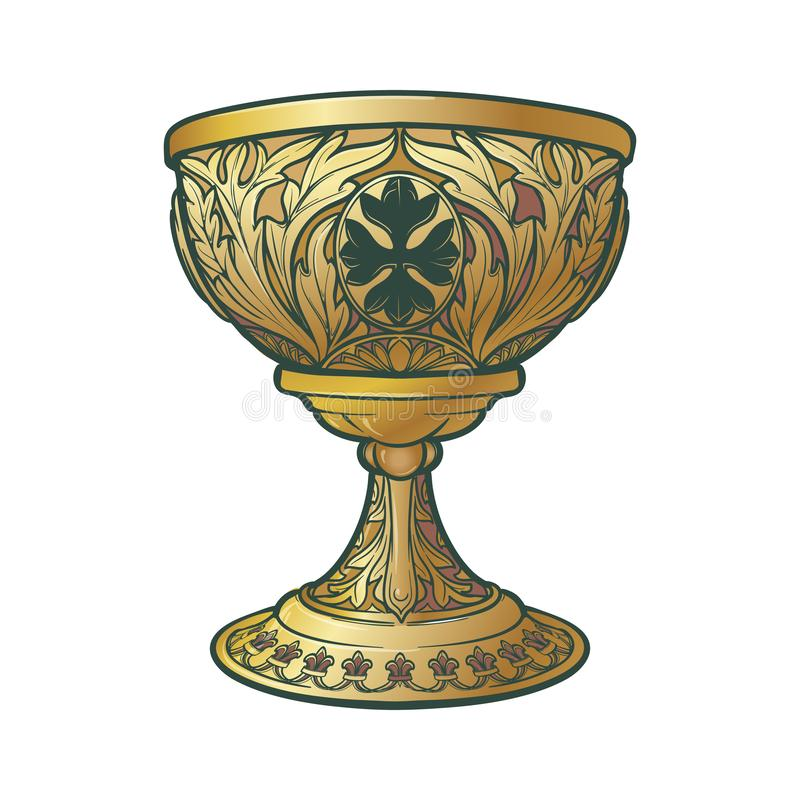 Holy Grail. Medieval gothic style concept art . vector illustration