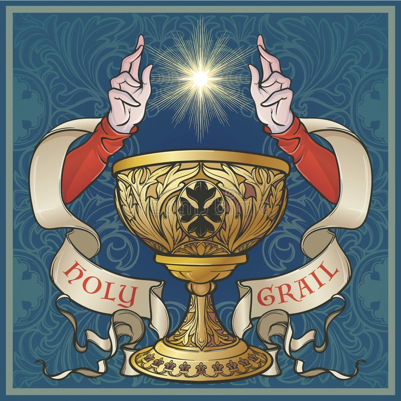 Holy Grail. Medieval gothic style concept art . Holy Grail. Symbol of spiritual insight in the romantic literature. Medieval gothic style concept art . Vintage stock illustration