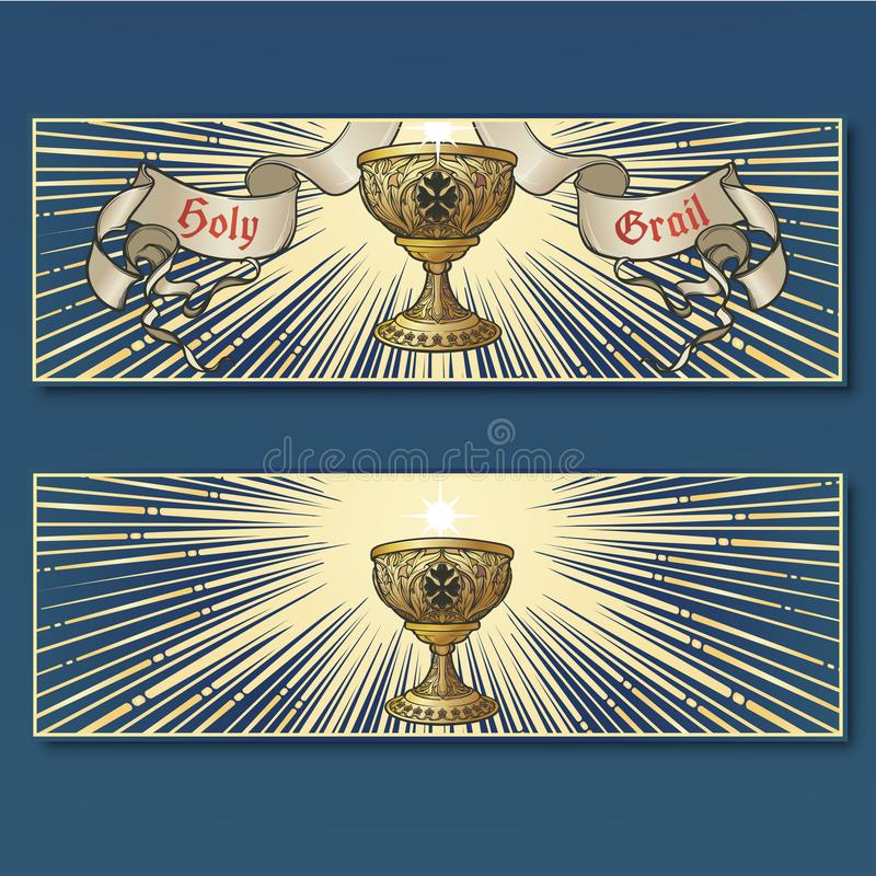 Holy Grail. Medieval gothic style concept art . Horizontal posters set stock illustration
