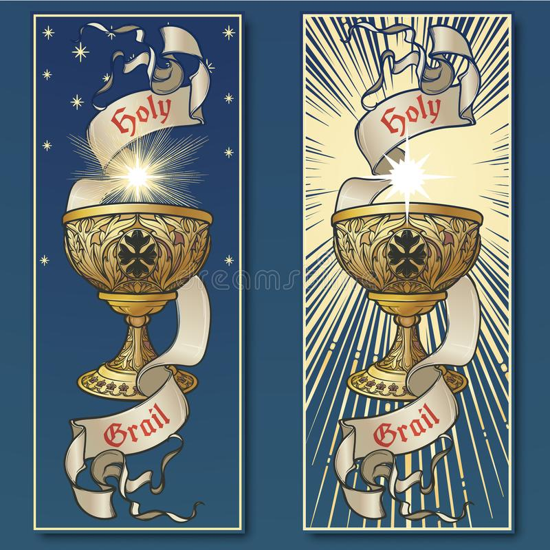 Holy Grail. Medieval gothic style concept art . Vertical posters set stock illustration