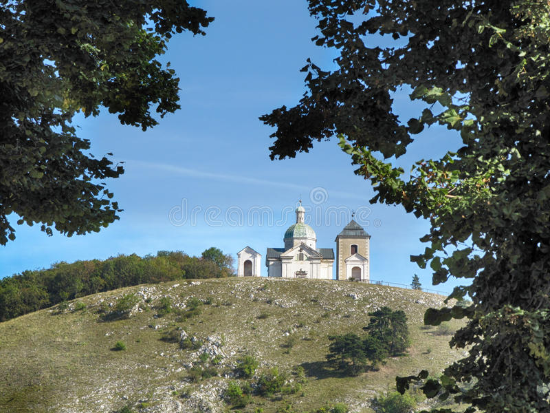 Holy Hill in Mikulov Town stock photography