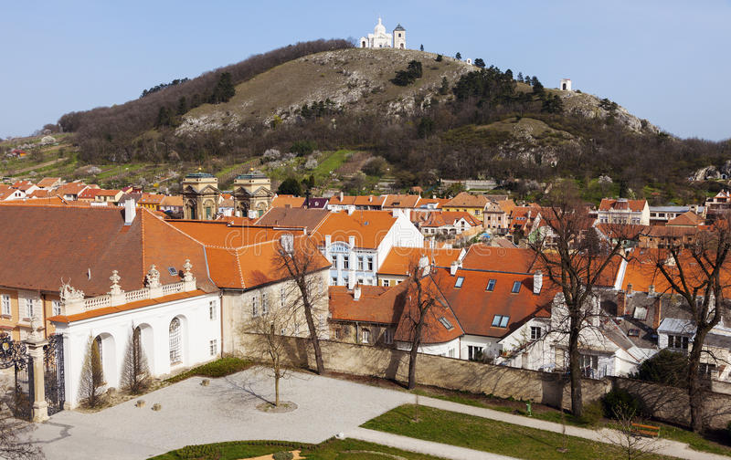 Holy Hill and roofs of Mikulov stock images
