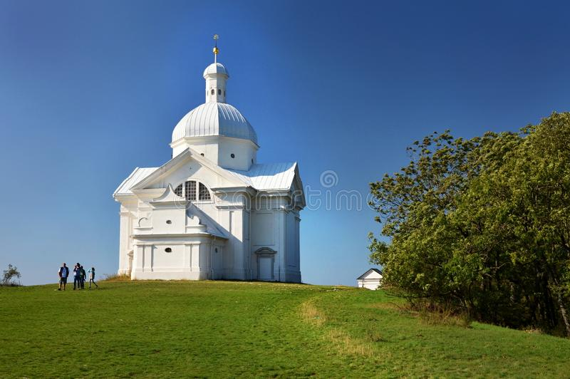 The Holy Hill with the St. Sebastian`s chapel in Mikulov Czech republic stock photography