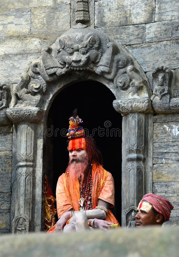 Holy Hindu sadhu man in Pashupatinath, Nepal. KATHMANDU, OCT 8, Sadhu at Pashupatinath in Kathmandu. Sadhus are holy men who have chosen to live an ascetic life royalty free stock image