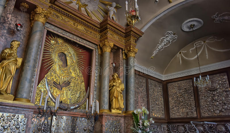 Holy icon of Mother of God Ostrobramska in Vilnius, Lithuania. stock photo