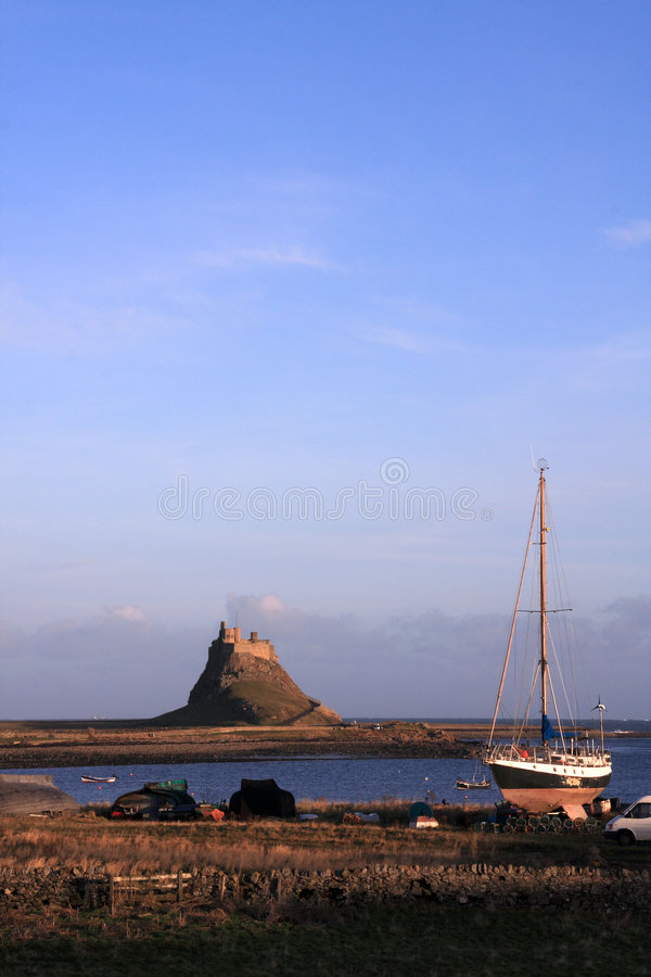 Holy island castle. The national trust Holy island castle from Lindisfarne Priory stock photo