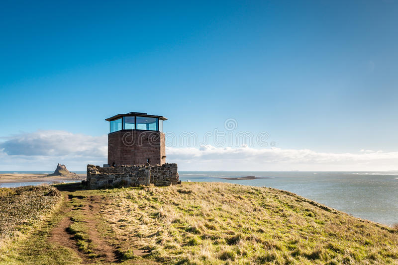 Holy Island Lookout Tower stock photo