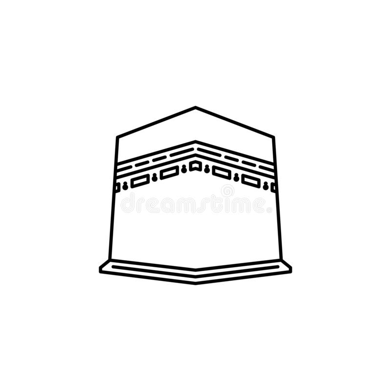 Holy kaaba building outline icon. stock illustration