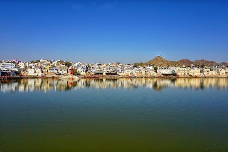 The holy lake of Pushkar stock image