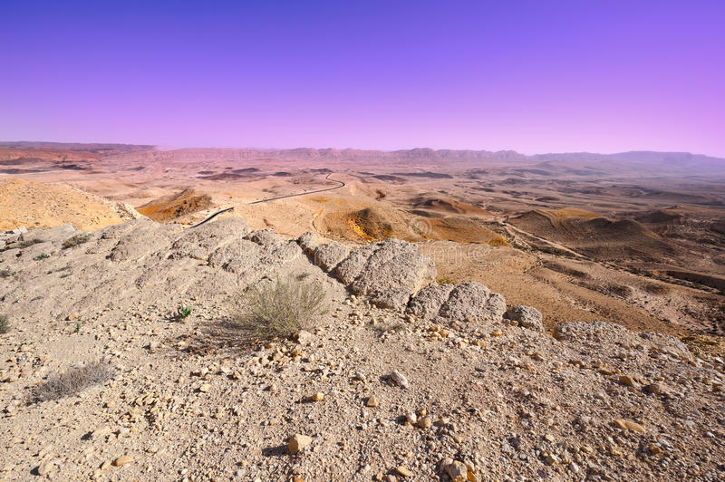 Holy Land. Big Stones of Grand Crater in Negev Desert, Israel stock photography