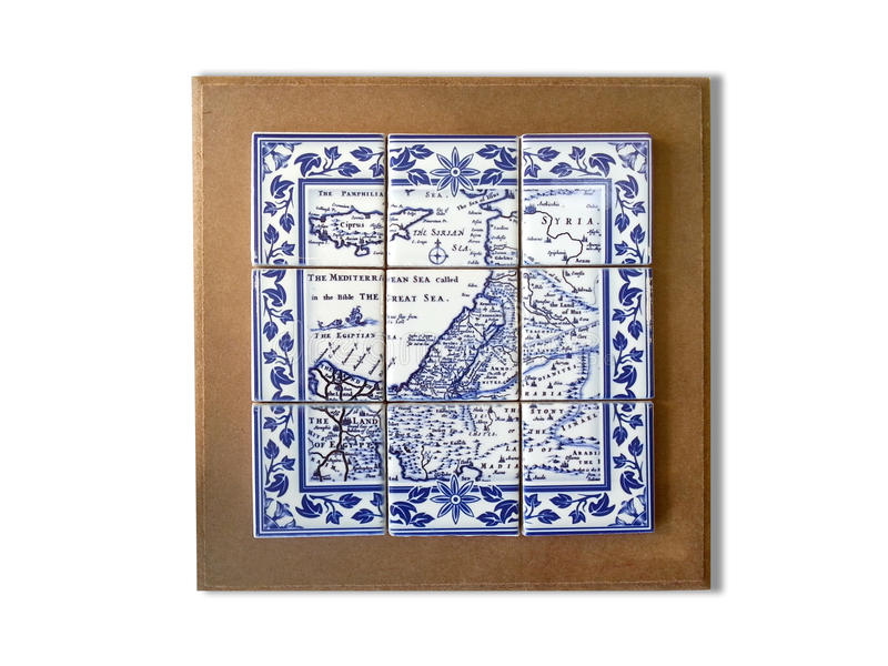 Holy Land Souvenir Ancient Map Ceramic Tile Framed royalty free stock photography