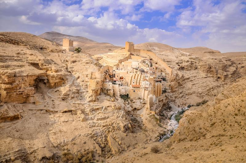 Holy Lavra of Saint Sabbas the Sanctified, West Bank stock images