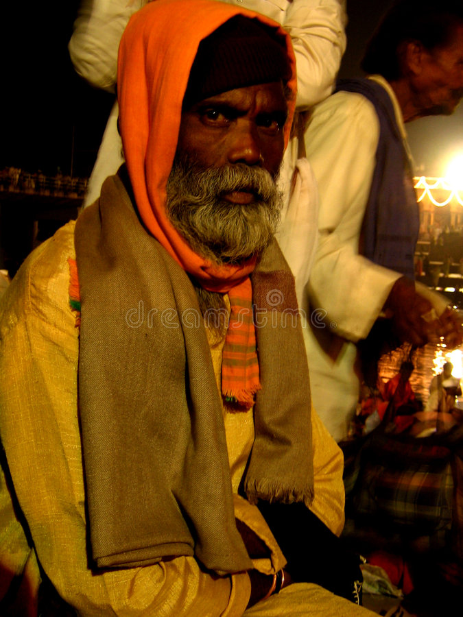 The Holy Man. An old religious man from India attends a hindu festival in Alandi, India stock image