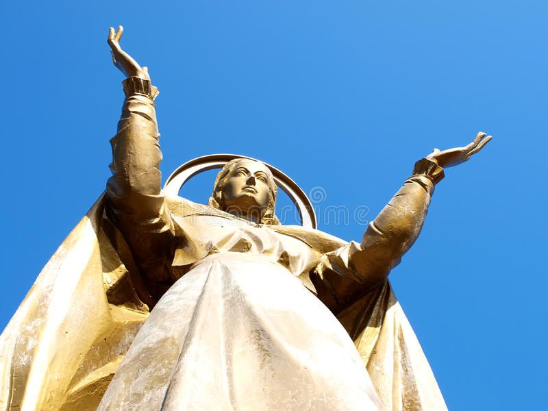 Holy Mary. Statue in Fiuggi, Italy royalty free stock images