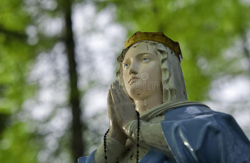Holy Mary. The Holy Mary statue in a forest stock images