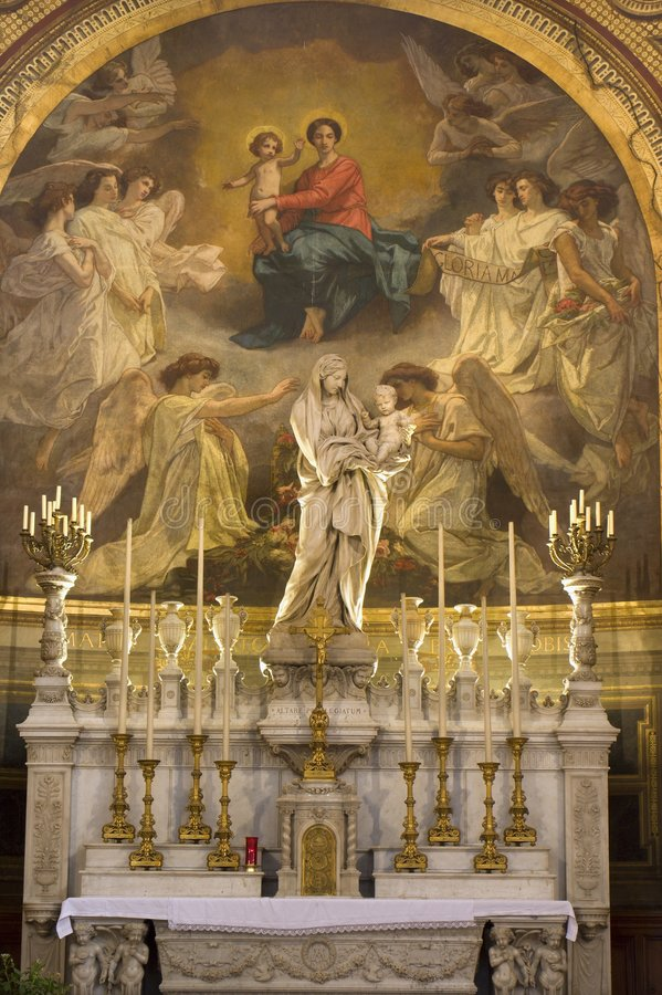 Holy mary altar from Paris church. Madeleine royalty free stock photo