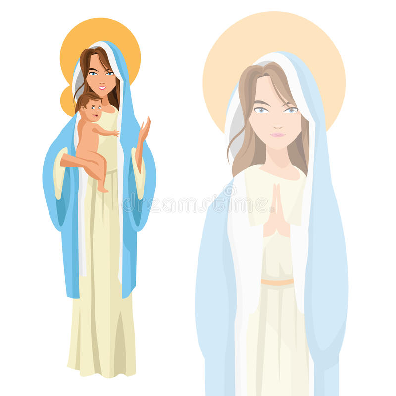 Holy mary baby jesus icon. Vector graphic vector illustration