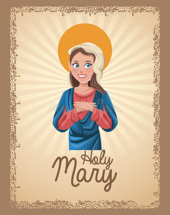 Holy mary blessed card royalty free illustration