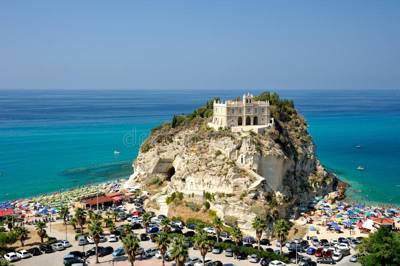 Holy Mary Cathedral in Tropea. A view to the Holy Mary Cathedral, symbol of Tropea touristic city, in the south of Italy royalty free stock photography