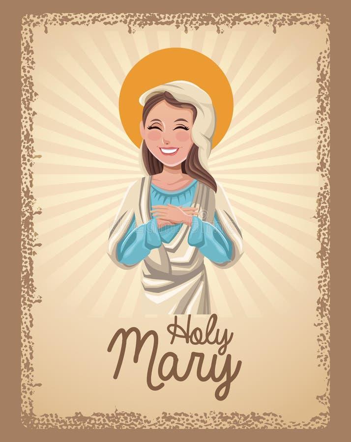 Holy mary catholic saint card stock illustration
