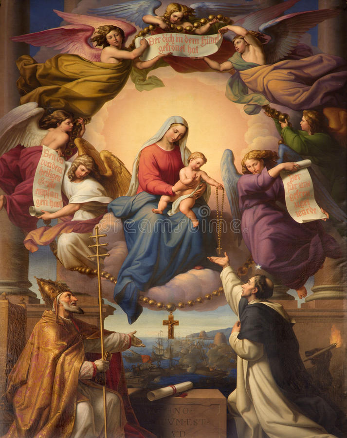 Holy Mary in the Heawen. From Vienna Dominicans church stock photos