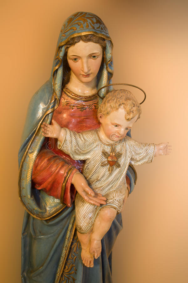 Holy mary with the jesus. Statue of holy mary with the jesus royalty free stock image