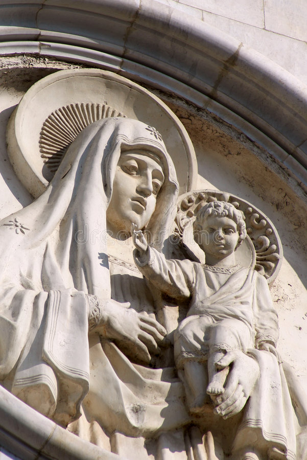 Holy Mary and Jesus. Fragment of the high relief (Christ the Savior Cathedral, Moscow stock photo