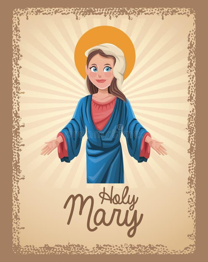 Holy mary religion card royalty free illustration