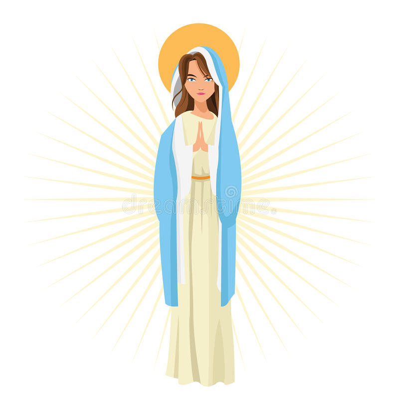 Holy mary religion icon. Vector graphic. Holy mary woman girl cartoon religion saint icon. Pastel colored and isolated illustration. Vector graphic stock illustration