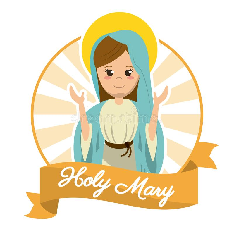 Holy mary religosity belief saint image vector illustration
