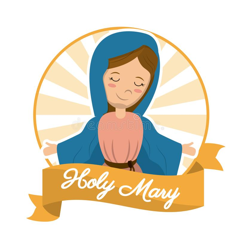 Holy mary sanctified religion blessed image vector illustration