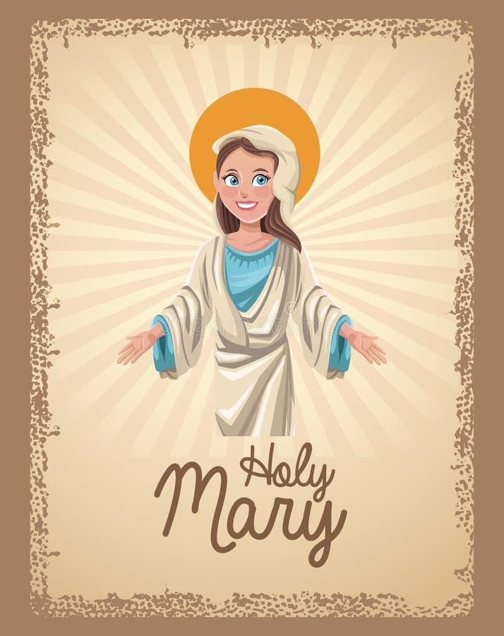 Holy mary spiritual card vector illustration