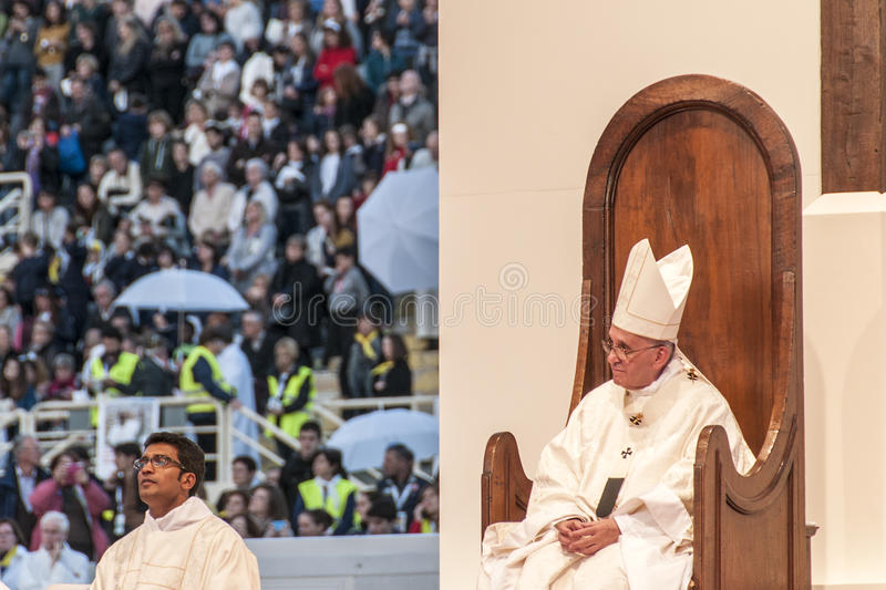 Holy mass with Pope Francis. Pope Francis celebrates the holy mass in the stadium of Florence, at the conference of the Italian Church on November 10 2015, in royalty free stock photos