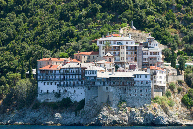 Holy monastery of athos stock image