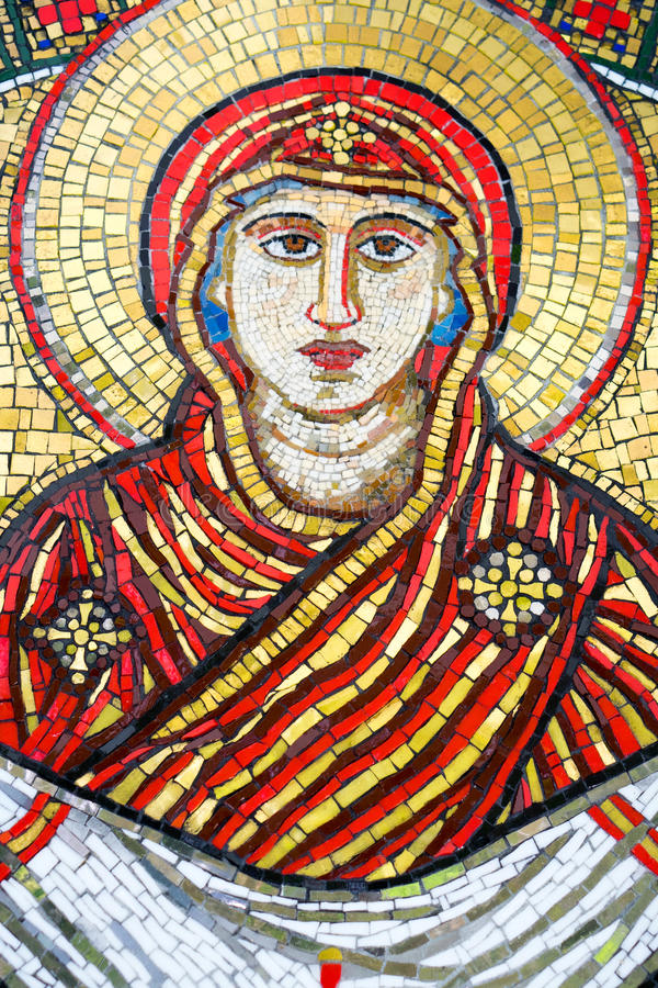 Holy Mother Of God Mosaic. A mosaic of the holy mother Of God royalty free stock photos