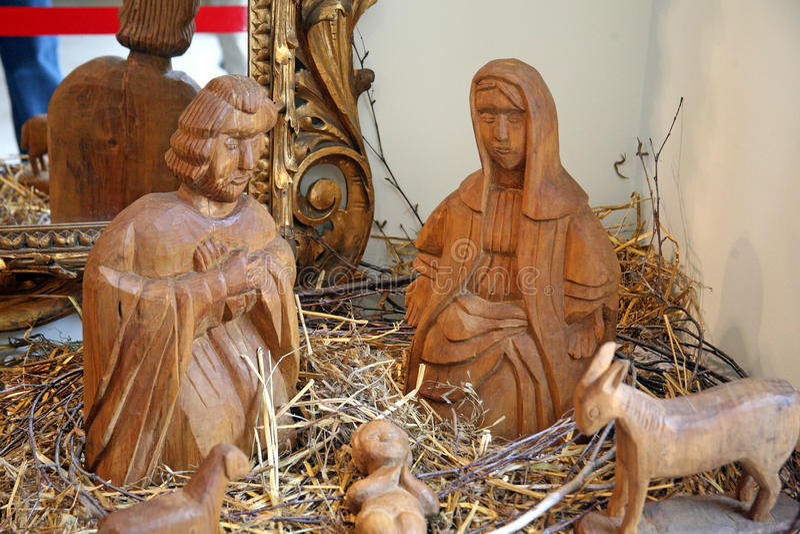 Holy nativiti scene, holy family 1, Christmas exhibition in Klovicevi dvori, Zagreb 2015. stock photos