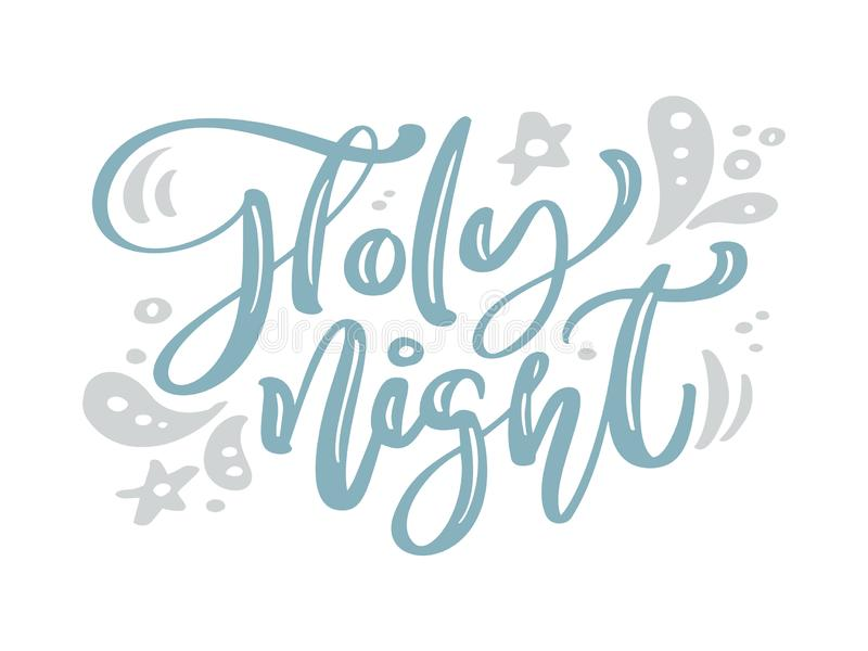 Holy Night blue Christmas vintage calligraphy lettering vector text with winter drawing decor. For art design, mockup. Brochure style, banner idea cover vector illustration